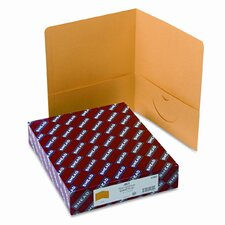 Two-Pocket Portfolio, Embossed Leather Grain Paper, 100-Sheet Capacity, Yellow