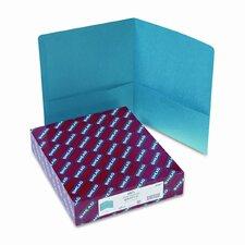 Two-Pocket Portfolio, Embossed Leather Grain Paper, 100-Sheet Capacity, Teal