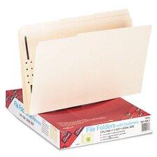 One Fastener 1/3 Cut Assorted Top Tab Folders, 50/Box