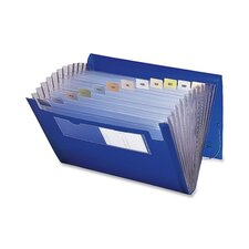 Expanding File, 12 Pockets, Letter, Blue/Clear, 1/Each