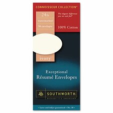 100% Cotton #10 Resume Envelope, 24 Lbs., 50/Box