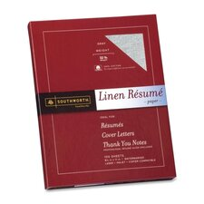 "Resume Paper, Linen, 32 lb, 8-1/2""x11"", 100/BX, Gray"