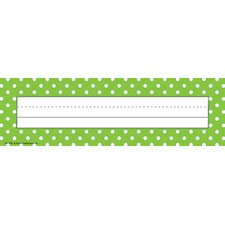 Lime Polka Dots Name Tag (Set of 2)