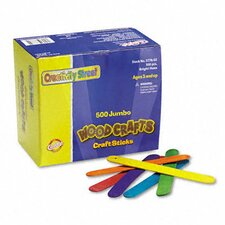 Colored Wood Craft Sticks Jumbo, 500/Box