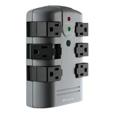 Surge Protector, Wall Mountable, 6 Rotating Outlets, 1080 Joules, Gray