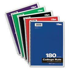 Wirebound 5-Subject Notebook, College Rule, 180 Sheets/Pad (Set of 2)