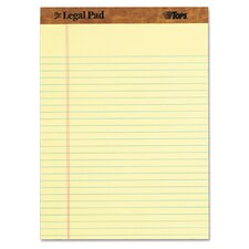 "The Legal Pad Ruled Perforated Pads, 8-1/2"" x 11-3/4"", Canary, 50 Sheets (Set of 5)"
