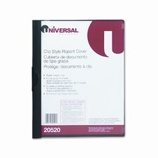 Plastic Report Cover with Clip, Letter, Holds 30 Pages, Clear/Black (Set of 7)