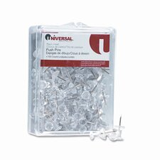 "Plastic Head Push Pins, Steel 3/8"" Point, Clear, 100 per Pack (Set of 6)"