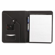 Leather-Look Pad Folio, Inside Flap Pocket with Card Holder