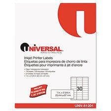 Inkjet Printer Labels, 30/Sheet, 750/Pack
