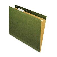 Reinforced 100% Recycled Hanging Folder, 1/5 Cut, Letter, Standard Green, 25/Bx
