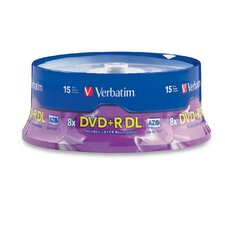 DVD+R, Double Layer, 8X, 8.5GB, Branded, 15 per Pack