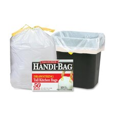 "Drawstring Trash Bags, 13 Gal., 0.7 mil, 24""x27"", 50 per Box, White"
