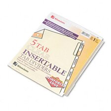 Gold Pro Insertable Tab Index, 5-Tab, Letter, Buff Sheets (Set of 5)
