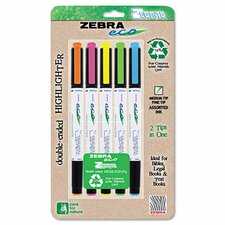 Eco Zebrite Double-Ended Highlighter (5 Pack)