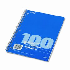 Spiral Bound Notebook, Wide/Margin Rule,10-1/2X8, 1 Subject 100 Sheets/Pad (Set of 3)