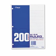 Filler Paper, 16-Lbs., Wide Ruled, 3-Hole Punched, 10-1/2 X 8, 200 Sheets/Pack (Set of 3)