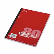 Single Subject Notebooks, Wide Margin/Rule, 8 X 10-1/2, 80 Sheets/Pad (Set of 3)