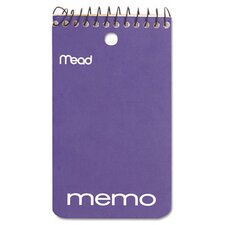 "Memo Book, College Ruled, 3"" X 5"", Wirebound, Punched, 60 Sheets (Set of 6)"