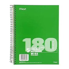 Notebook Spiral 5 Subject 180 Ct (Set of 3)
