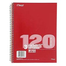 Notebook Spiral 3 Subject 120 Ct (Set of 3)