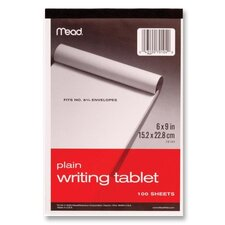 "Writing Tablet,Top-bound,Plain,15 lb,6""x9"",100 Sh,White (Set of 4)"