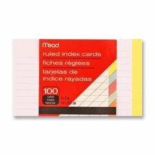 "Index Cards, Ruled, 3""x5"", 100 Count, Assorted (Set of 4)"