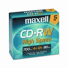 CD-RW Discs, 700MB/80min, 12x, with Jewel Cases, Gold, Five/Pack