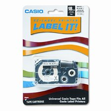 Label Printer Iron-On Transfer Tape, 18mm, Black on White