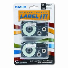 18WE2S Tape Cassettes for Kl Label Makers, 18Mm X 26Ft, 2/Pack
