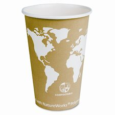 World Art Renewable Resource Compostable Hot Cups, 16 Oz, 1000/Carton