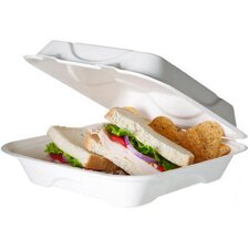 "Bagasse Hinged 9"" Clamshell Containers in White (Set of 200)"