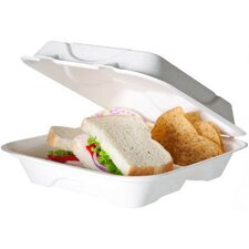 Sugarcane Hinged 3-Compartment Hot Food Container in White
