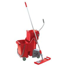 Side-Press Restroom Mop Bucket Floor Pack in Red