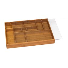 Bamboo Adjustable Drawer Organizer with Acrylic Slide Cover