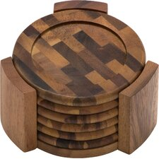 Acacia End Grain 7 Piece Coaster Set