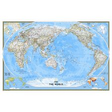 World Classic Pacific Centered Enlarged Wall Map