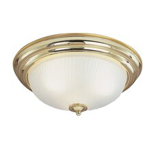 Flush Mount with Etched Glass in Polished Brass