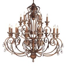 Iron and Crystal 18 Light Chandelier in Crackled Bronze with Vintage Stone Accents