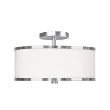 Park Ridge Semi-Flush Mount with White Pleated Shade in Brushed Nickel