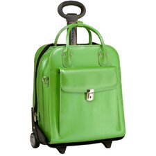 W Series La Grange Leather 2-in-1 Removable-Wheeled Ladies' Briefcase in Green