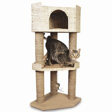 "45"" Hyacinth and Jute Tri-Level Corner Cat Condo"