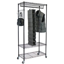 Garment Rack with Adjustable Shelves & Hooks