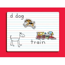 Dry Erase Lined Graphic Wall Mounted Whiteboard, 1' x 1' (Set of 2)