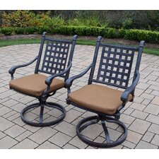 Belmont Aluminum Swivel Rocker Dining Chair with Cushion (Set of 2)