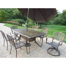 Oxford Mississippi 7 Piece Dining Set with Umbrella