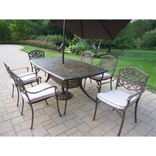Oxford Mississippi 7 Piece Dining Set with Cushion and Umbrella