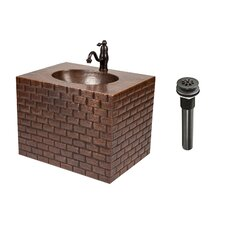 "18"" Single Hand Hammered Copper Wall Mount Bathroom Vanity Set"
