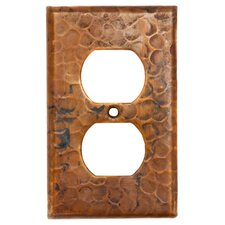 Copper Switchplate Single Duplex, 2 Hole Outlet Cover in Oil Rubbed Bronze